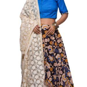 Kalamkari and plain blouse