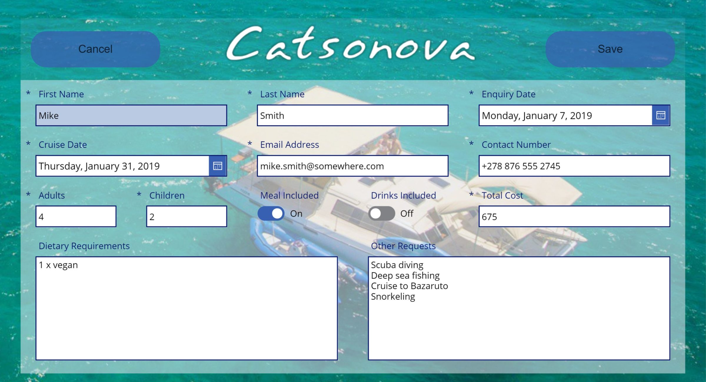 Curise Booking Form