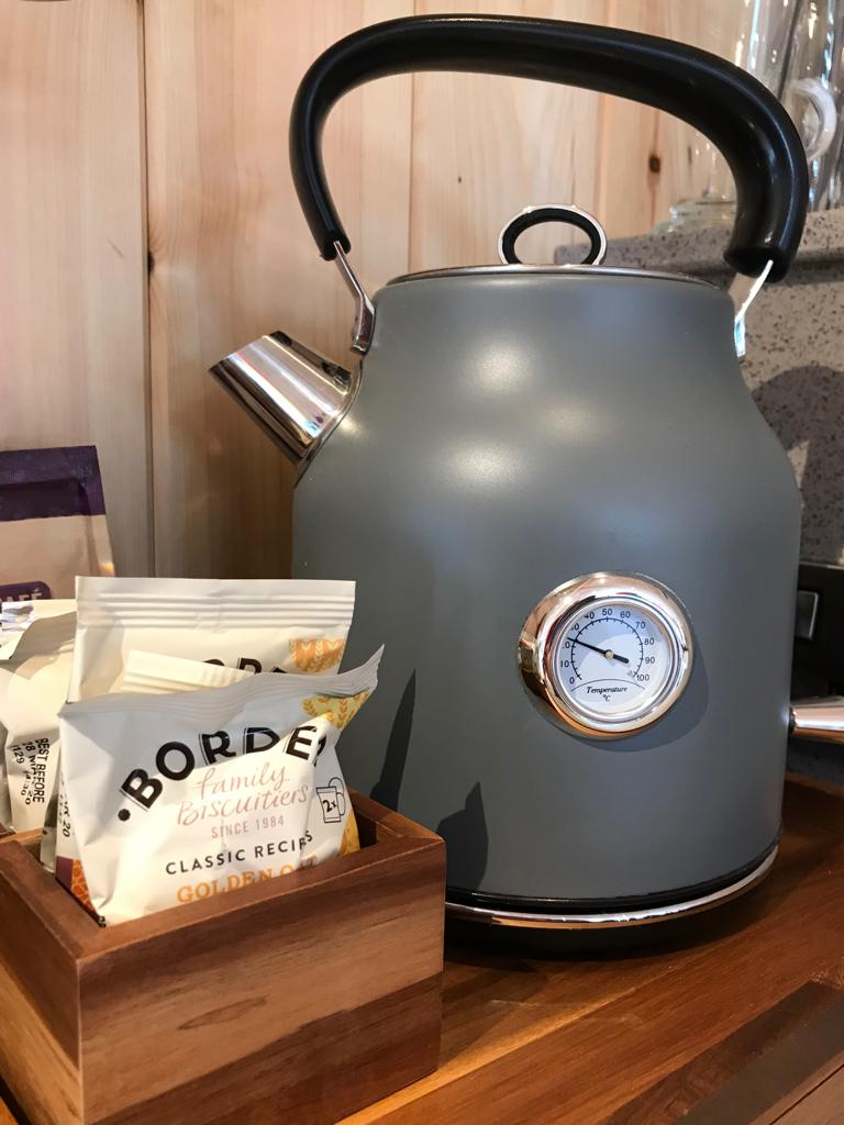 Hedgerow Glamping complimentary teas, coffees and biscuits