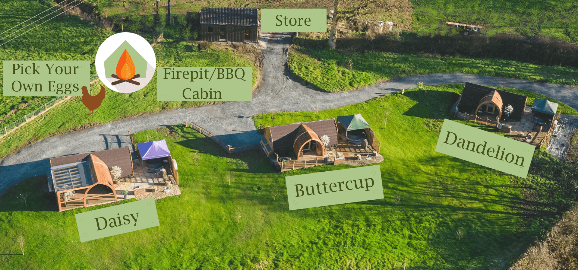 Hedgerow luxury glamping site map
