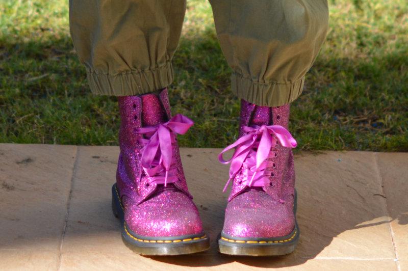pink sparkly Doc Martens