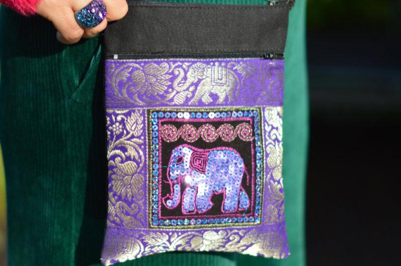 Purple elephant purse
