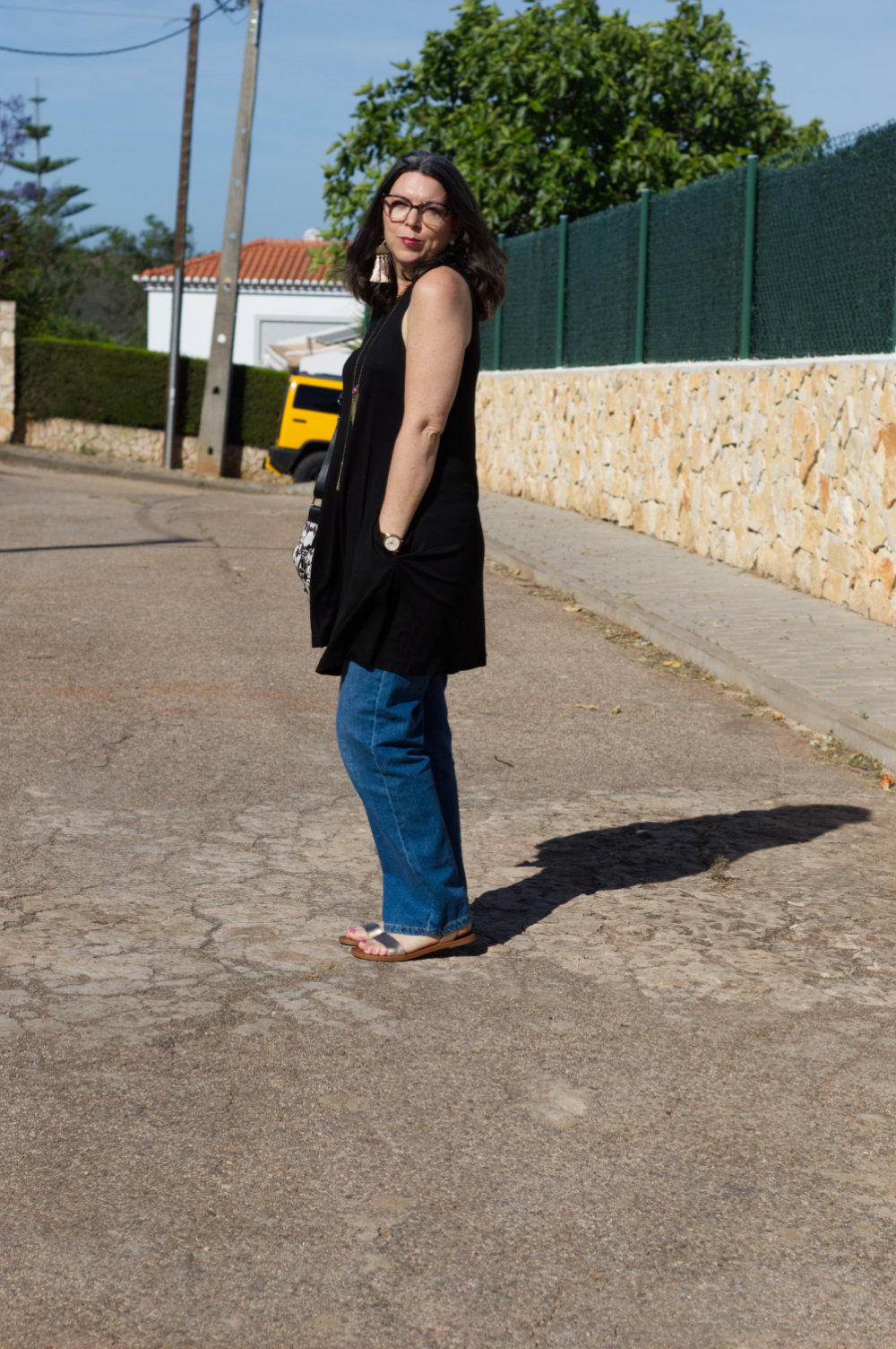 little black dress and baggy jeans