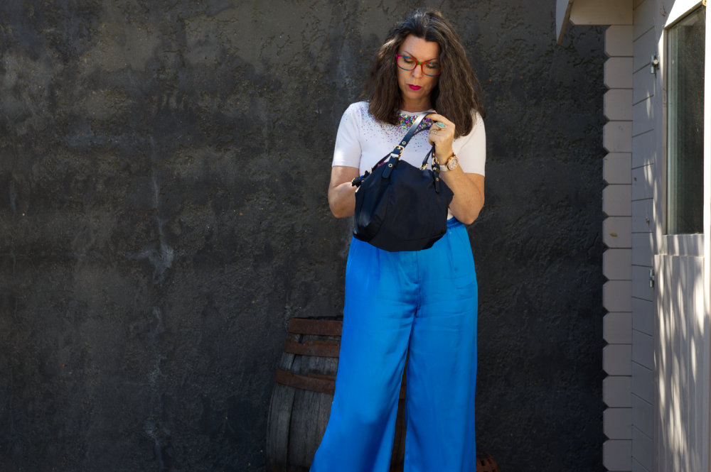 Silky blue trousers