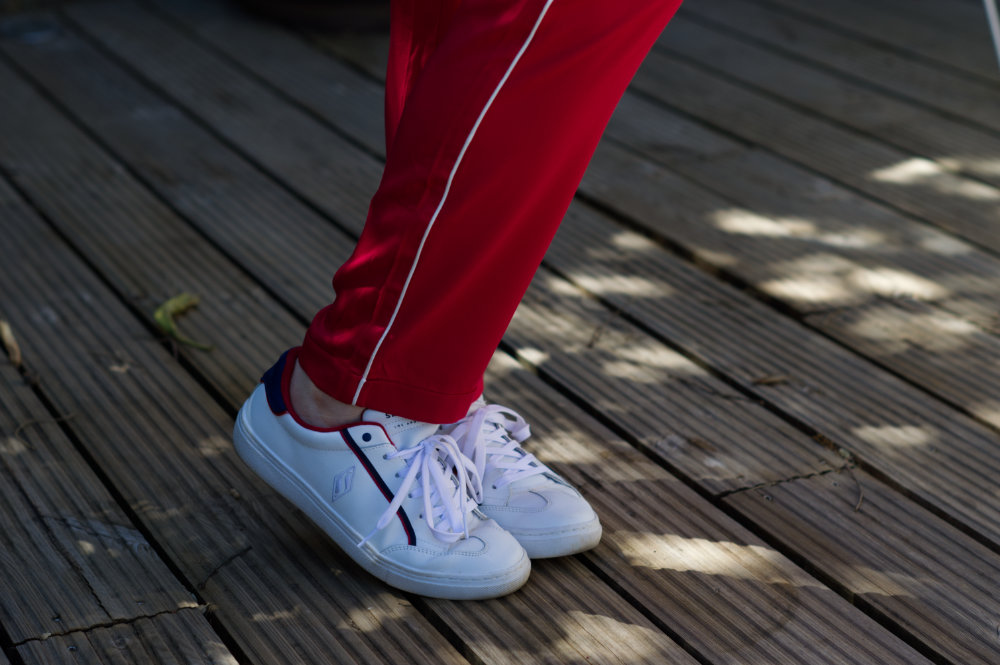 red white and blue Skechers