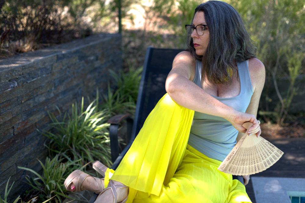 yellow wide-legged trousers