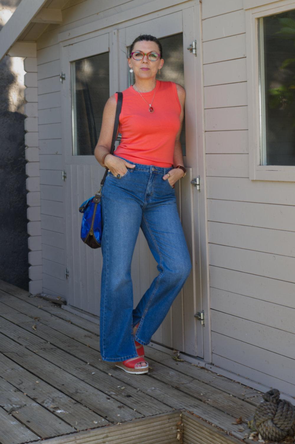 blue jeans with orange