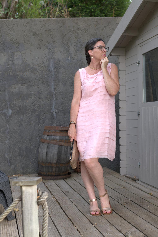 pale pink shift dress