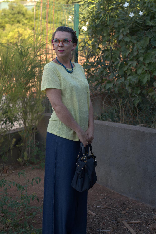 Wide-legged Tencel trousers