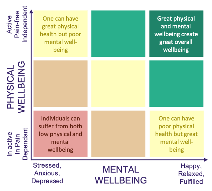A diagram showing the relationship between mental and physical wellbeing at home and in work