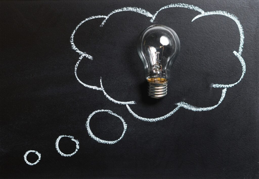 A lightbulb representing ideas, as per the brainstorming part of the self-revealed stereotypes activity