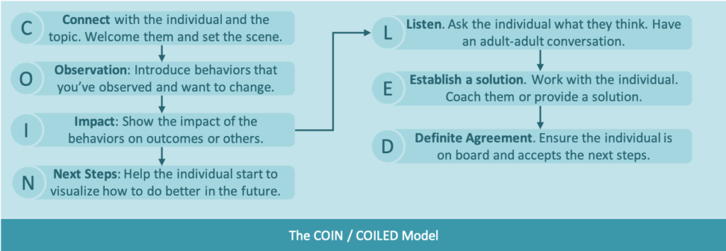 A driagram showing the COIN feedback model as a process flow