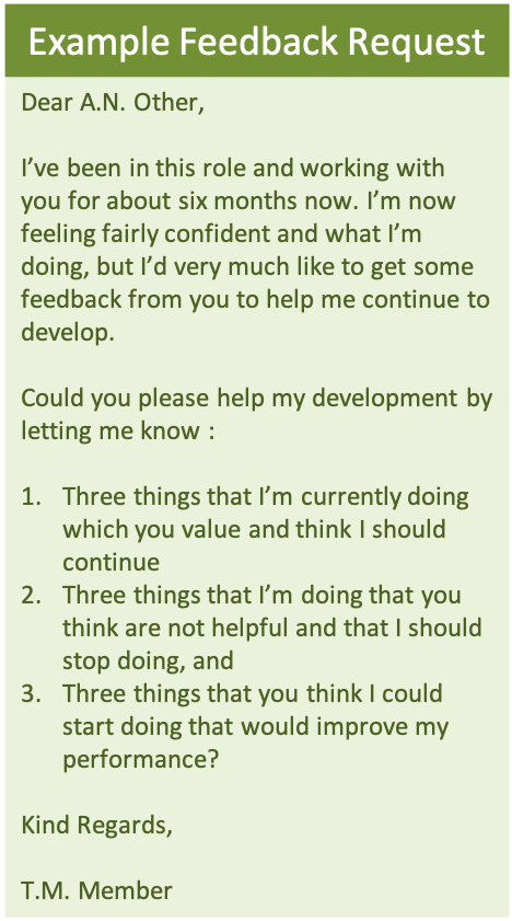Example of stop, start, continue feedback approach