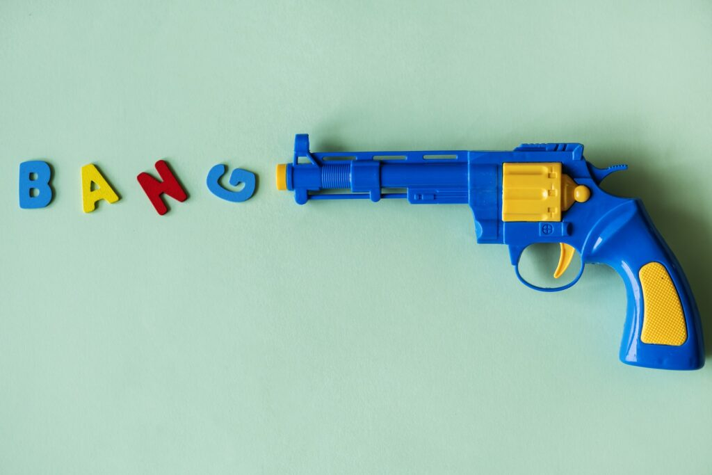 A toy gun - receiving feedback is threatening and can trigger the brains threat reseponse