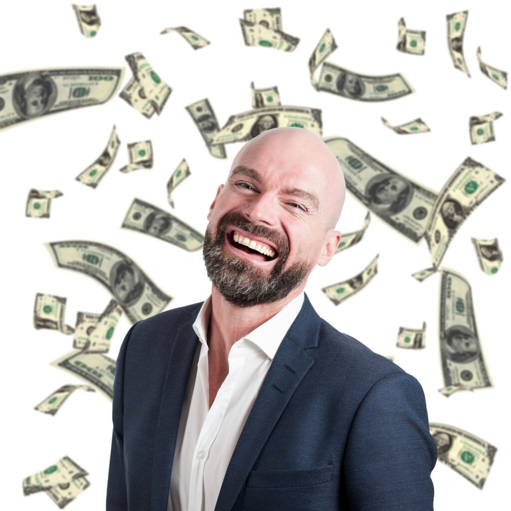 man with lots of money representing self orientation, a factor of the trust equation