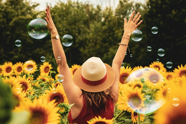 The GREAT DREAM personal happiness model can help you become happier, just like sunflowers and bubbles
