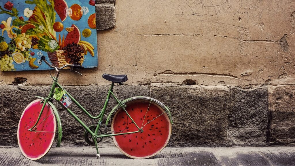 A bicycle with wheels like watermellons, representing the wheels used in The Denison Organizational Culture Survey