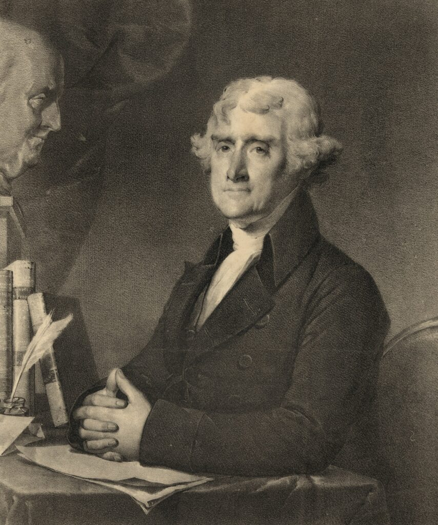 A painting of Thomas Jefferson, a promoter of some aspects of positive thinking