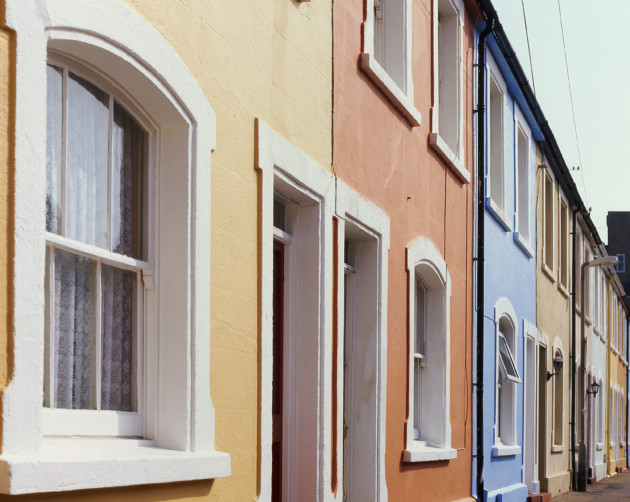 Multicoloured terraced houses in Worthing, West Sussex. England