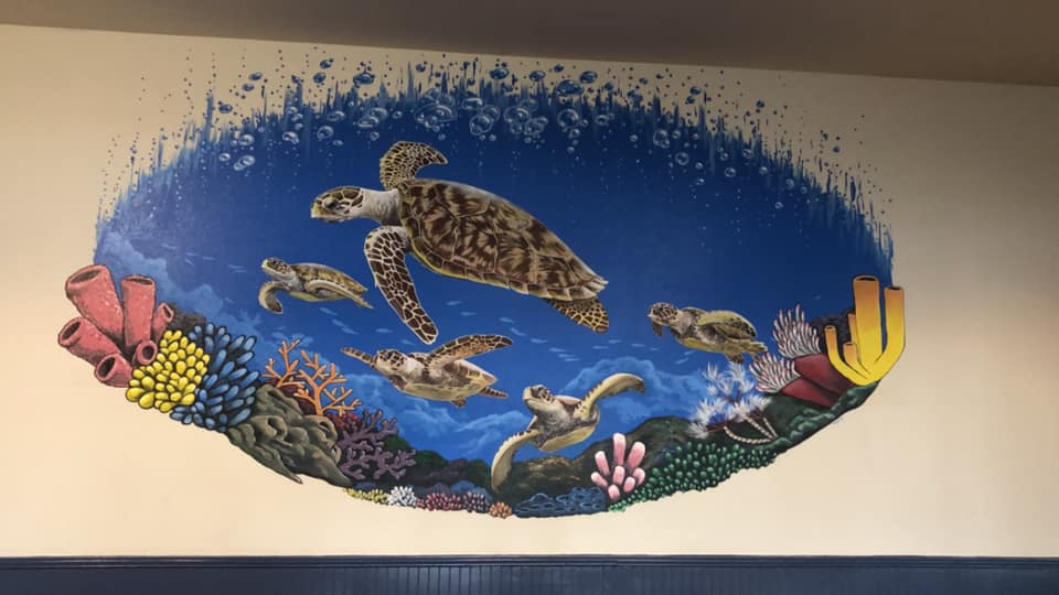 Mural on Hawksbill Bar and Grill wall
