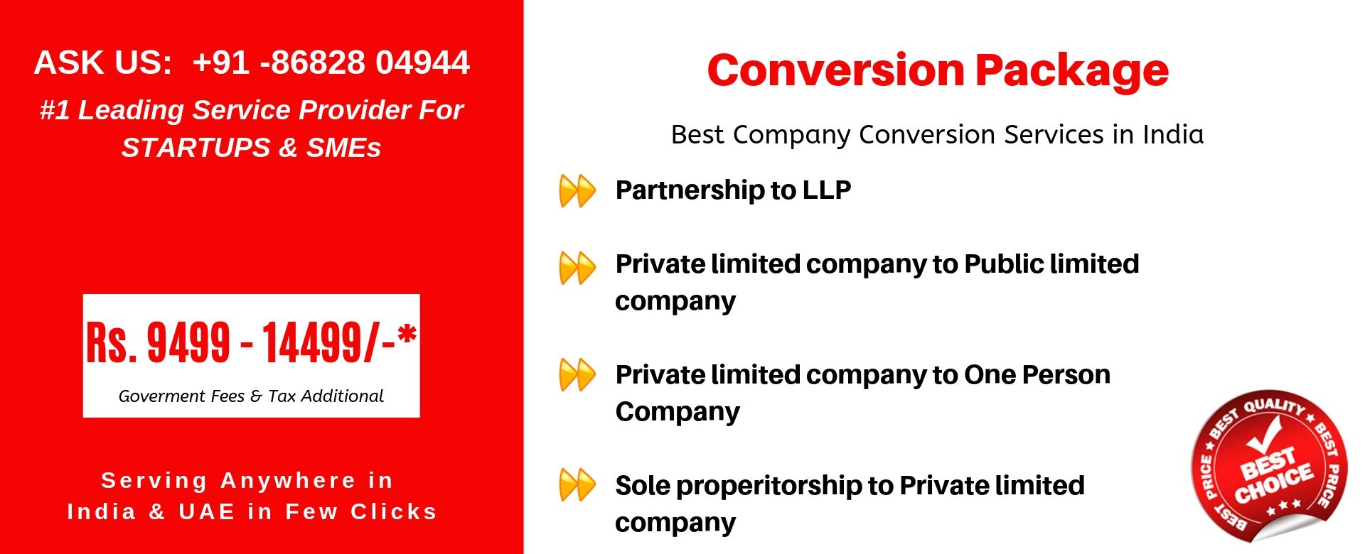 conversion package in india
