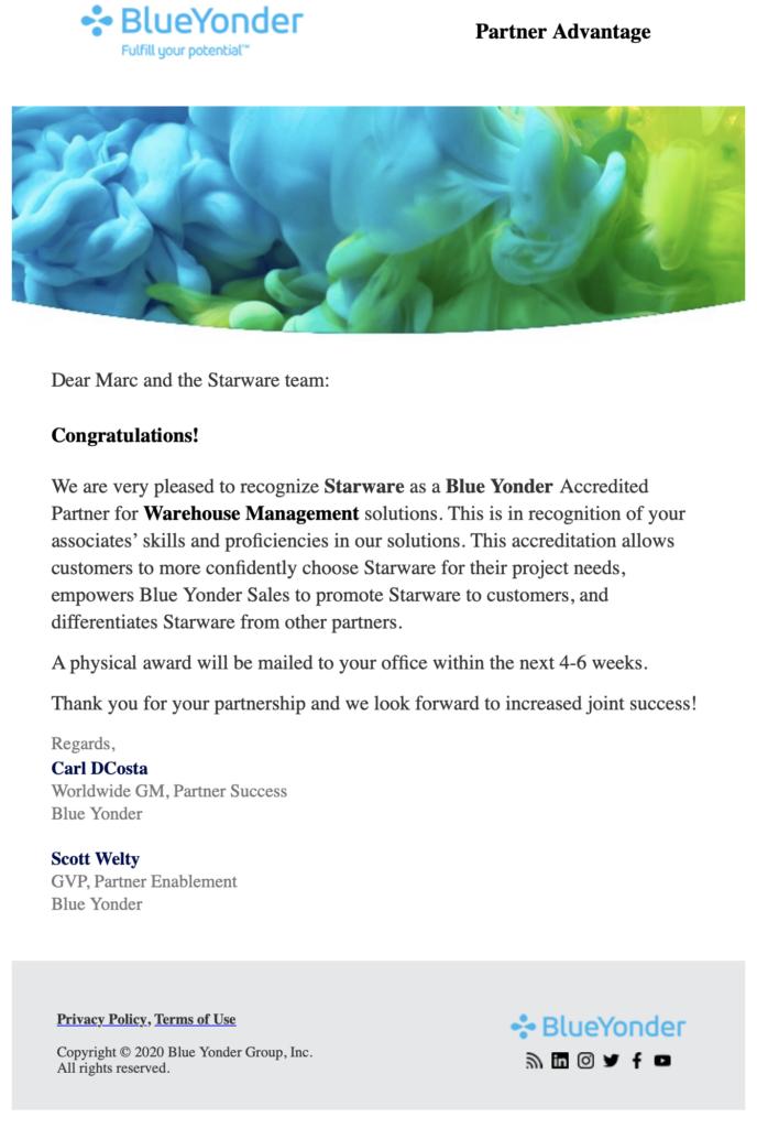 Blue Yonder accredited partner award