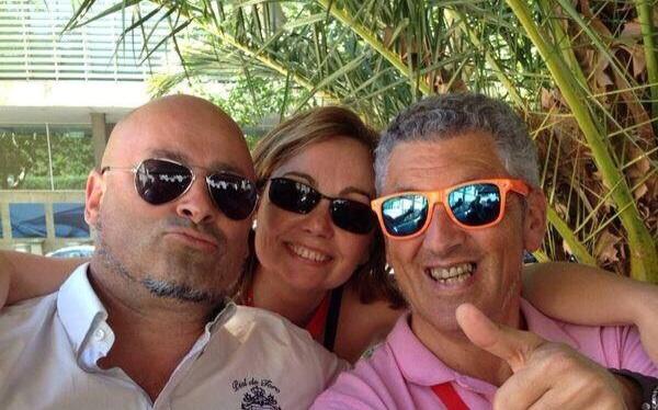luis Iglesias y Domingo Pastor con Begoña de Mayoball