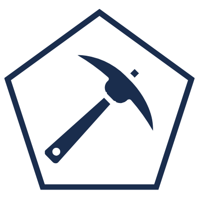 Pentagon with a pickaxe in the middle symbolising mining