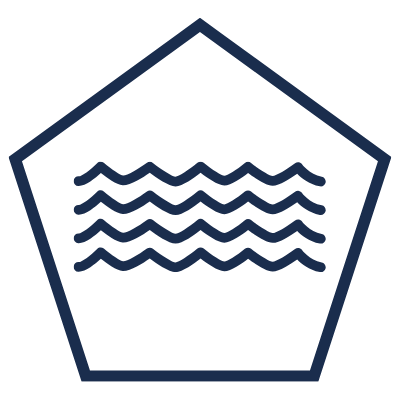 Pentagon icon with water symbol in the middle