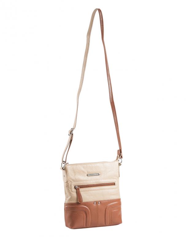 brown white mini bag