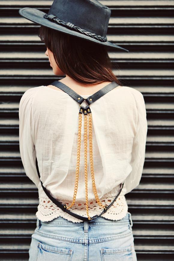 leather strip body chain jewellery