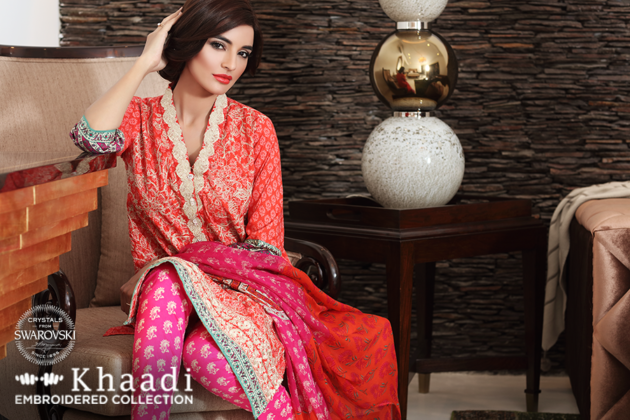 Khaadi 3 Piece Embroidered Collection 2016