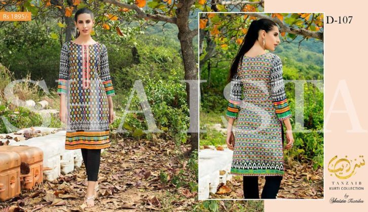 Tanzaib Kurti Shalwar Summer Collection are beautiful printed kurti shalwar suits that women can wear in this summer season by Shaista Cloth Mills.