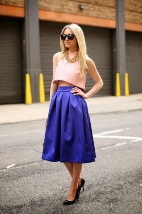 Summer Crop Top Outfits With Full Skirts Trend 2016