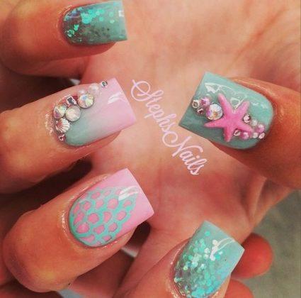 ocean inspired nail designs for summer season