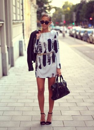 Feather Printed Dresses For Summer-Autumn Season