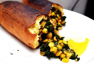 Baguette corned spinach