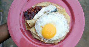 Crepe and egg top