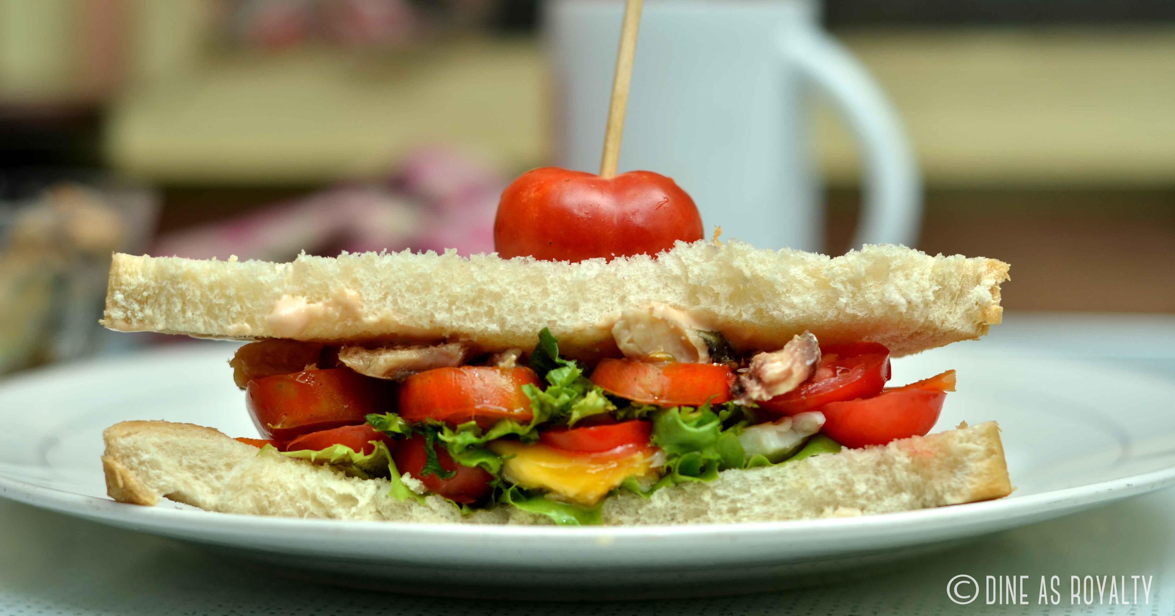 Egg, lettuce, tomato, sardine and mayo sandwich