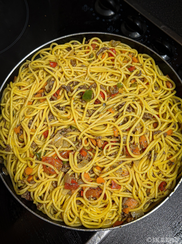 Suya spaghetti stirfry