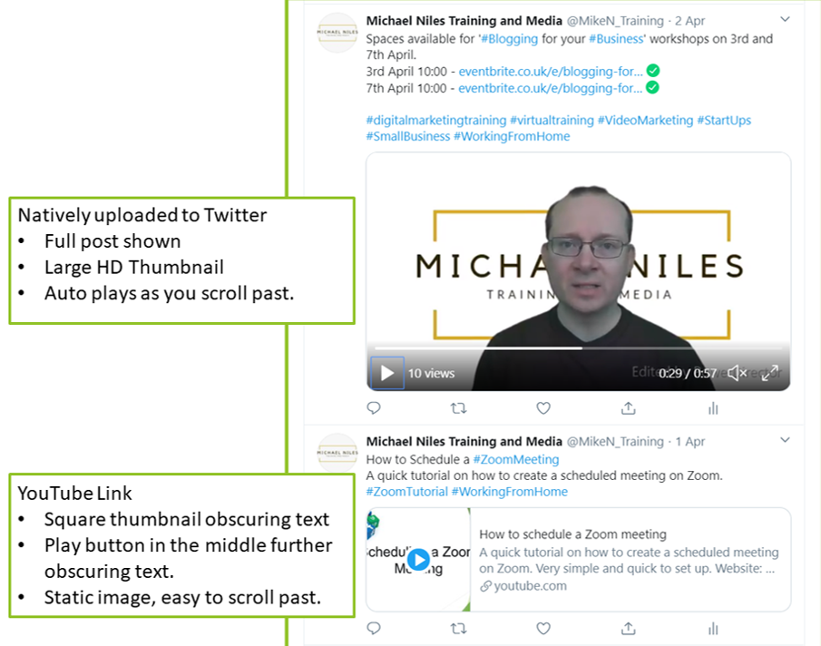 native video vs video Links