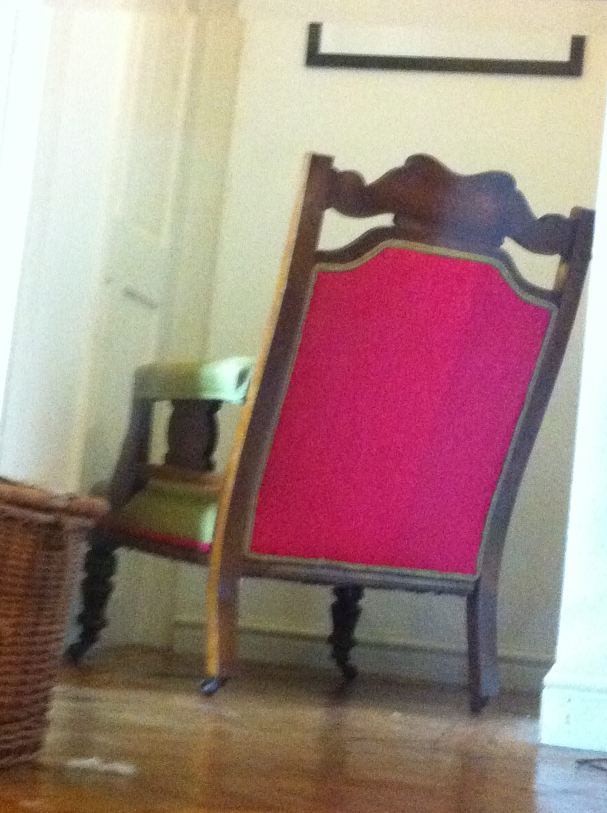 back of traditional upholstered carver chair houles top fabric