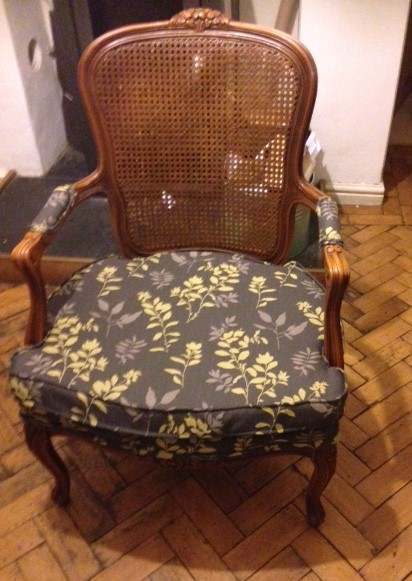 recovered chair in customer's fabric