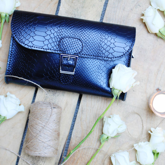 Brit-Stitch Brit-Luxe Clutch Bag Black Croc