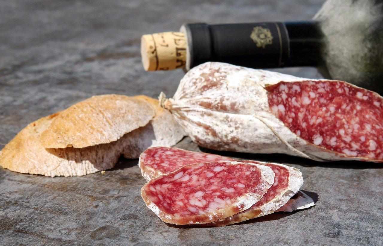 salami, sausage, cut