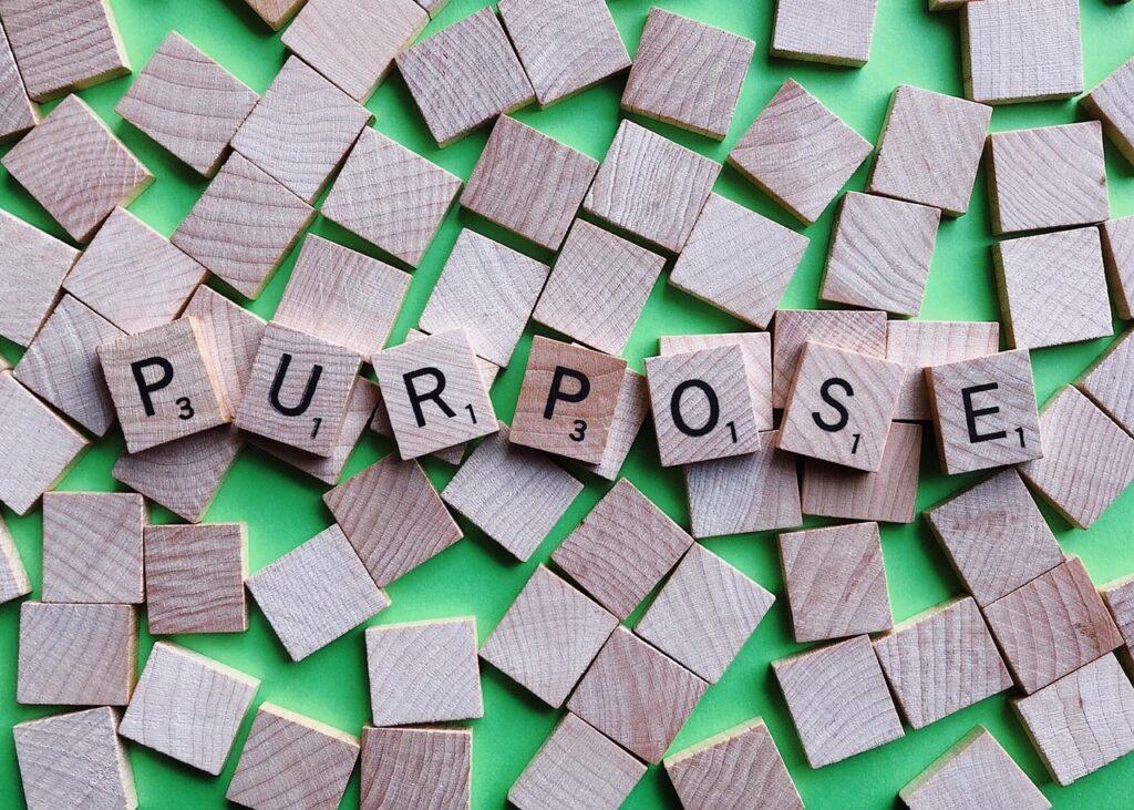 purpose, intention, goal