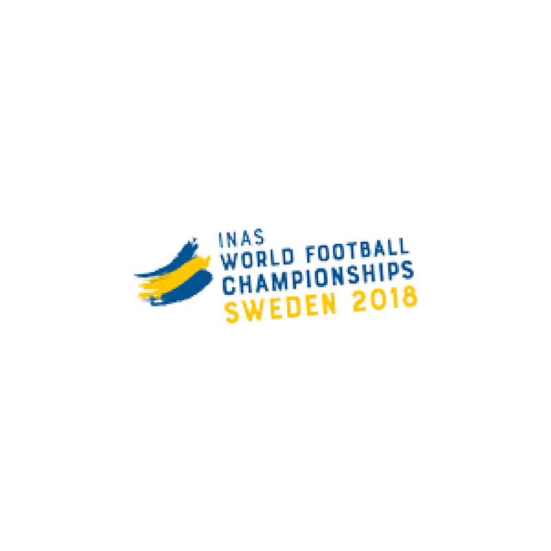 The logo of the 2018 World Intellectual Impairment Sport Football World Championships featuring the Swedish flag drawn artistically