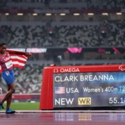 Breanna Clark USA breaks world record at T20 400 meter at Tokyo 2020 Paralympic Games.