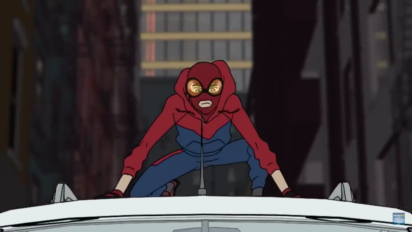 Peter Parker with his classic homemade spider suit