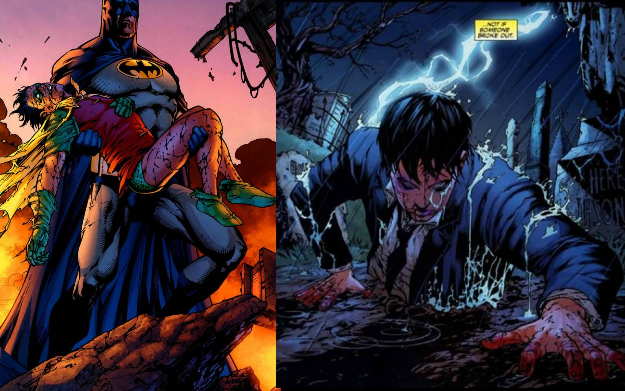Dead body of Jason Todd holded by Batman and Ressurected by Superboy Prime